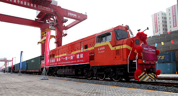 A Chinese train destined for Kazakhstan
