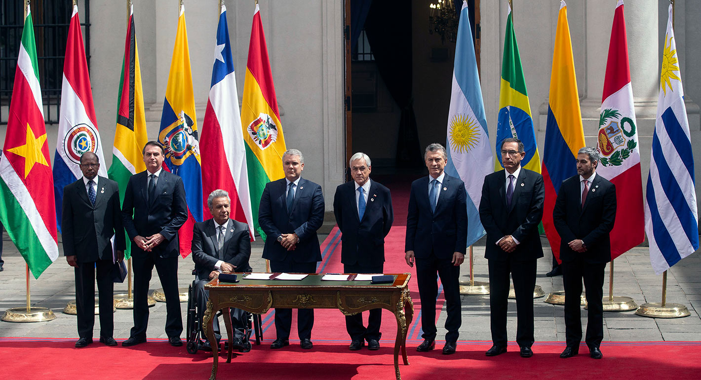 Signing of a declaration to kick off the Prosur regional initiative, 2019