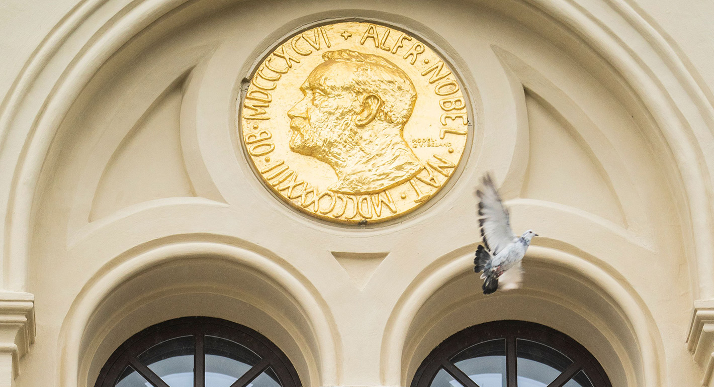 A peace dove flies past a relief of Alfred Nobel after it was released in front of the Nobel Peace Center in Oslo, Norway