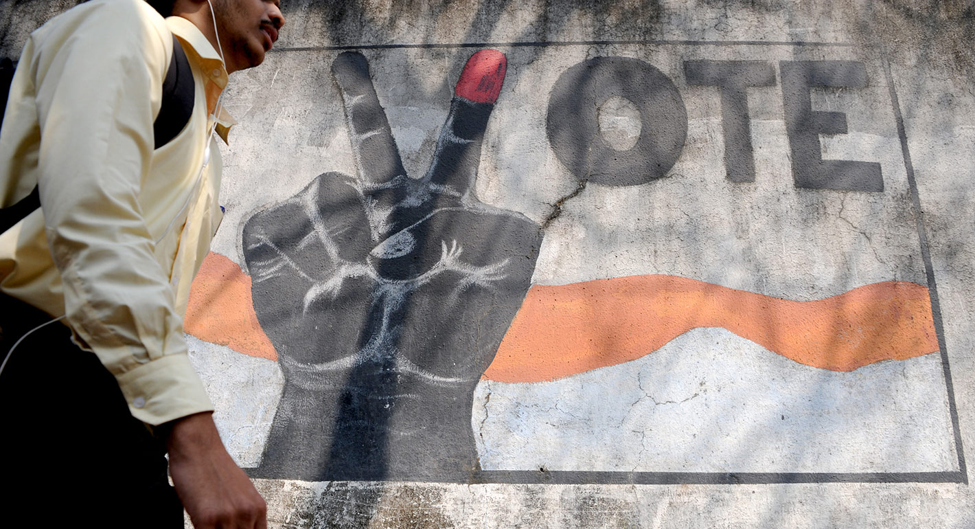 Graffiti calling on people to vote in India