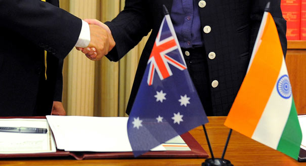 India and Australia handshake