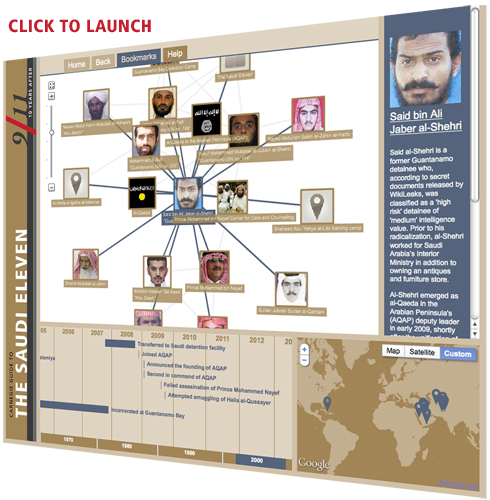 "The Carnegie Endowment offers a first-of-its-kind interactive site to explore the people, places, and organizations that impacted the lives of eleven prominent Saudi terrorists known as the ""Saudi Eleven."""