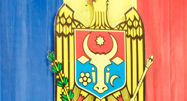 Close view of Moldovan flag