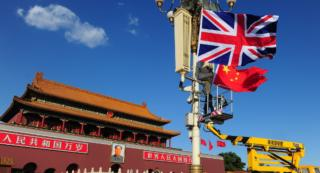 Chinese and British flags