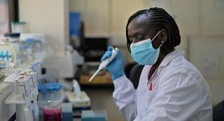 Alice Kiyong'a, a research associate and biologist, analyses serum drawn from a camel's blood for the Middle East Respiratory Syndrome (MERS)