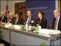 Carnegie hosted the seventh annual seminar of former U.S. trade representatives with presentations on current and future U.S. trade policy issues by Ambassadors Carla Hills, Mickey Kantor, Clayton Yeutter, Charlene Barshefsky, Bill Eberle, and Senator William Brock. Carnegie Senior Associate Sherman Katz moderated the event.
