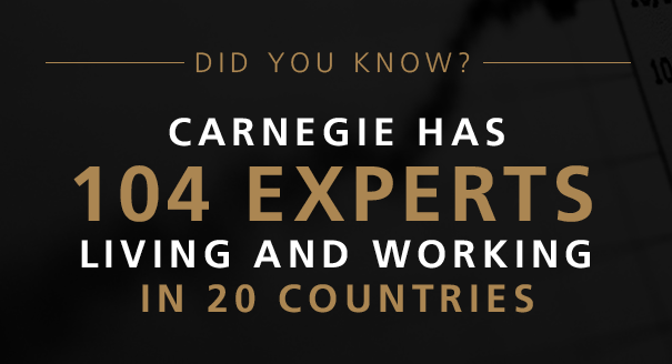Did you know Carnegie has 104 experts living and working in 20 countries